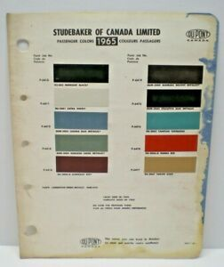 1965  STUDEBAKER  CANADA CAR COLOR CANADIAN PAINT CHIP DUPONT CHART