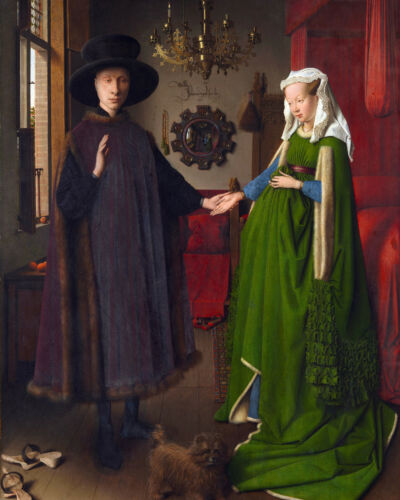 Van Eyck Giovanni Arnolfini Wedding Portrait Painting 8x10 Real Canvas Art Print