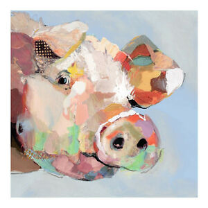 Funny pig hand-painted modern abstract animal oil painting ...