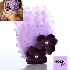 Baby-Girls-Kids-Purple-Feather-Flower-Hairband-Headband-Wedding-by-Moshi-Babies