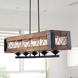 Details About Rustic Wood Island Lighting Kitchen Chandelier Linear 5 Lights Wooden Pendant