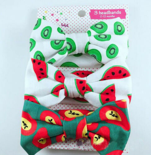 3x Newborn Headband Cotton Elastic Baby Print Floral Hair Band Girls Bow-knot FO