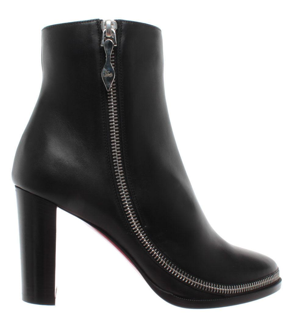 zapatos mujer Stivaletti Tacco CHRISTIAN LOUBOUTIN Paris Telezip Pelle negro Nuovi