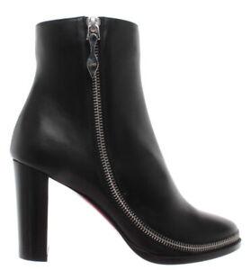pas cher pour réduction 2a105 ca5ad Details about Chaussures Femmes Bottes Talon CHRISTIAN LOUBOUTIN Paris  Telezip Cuir Noir