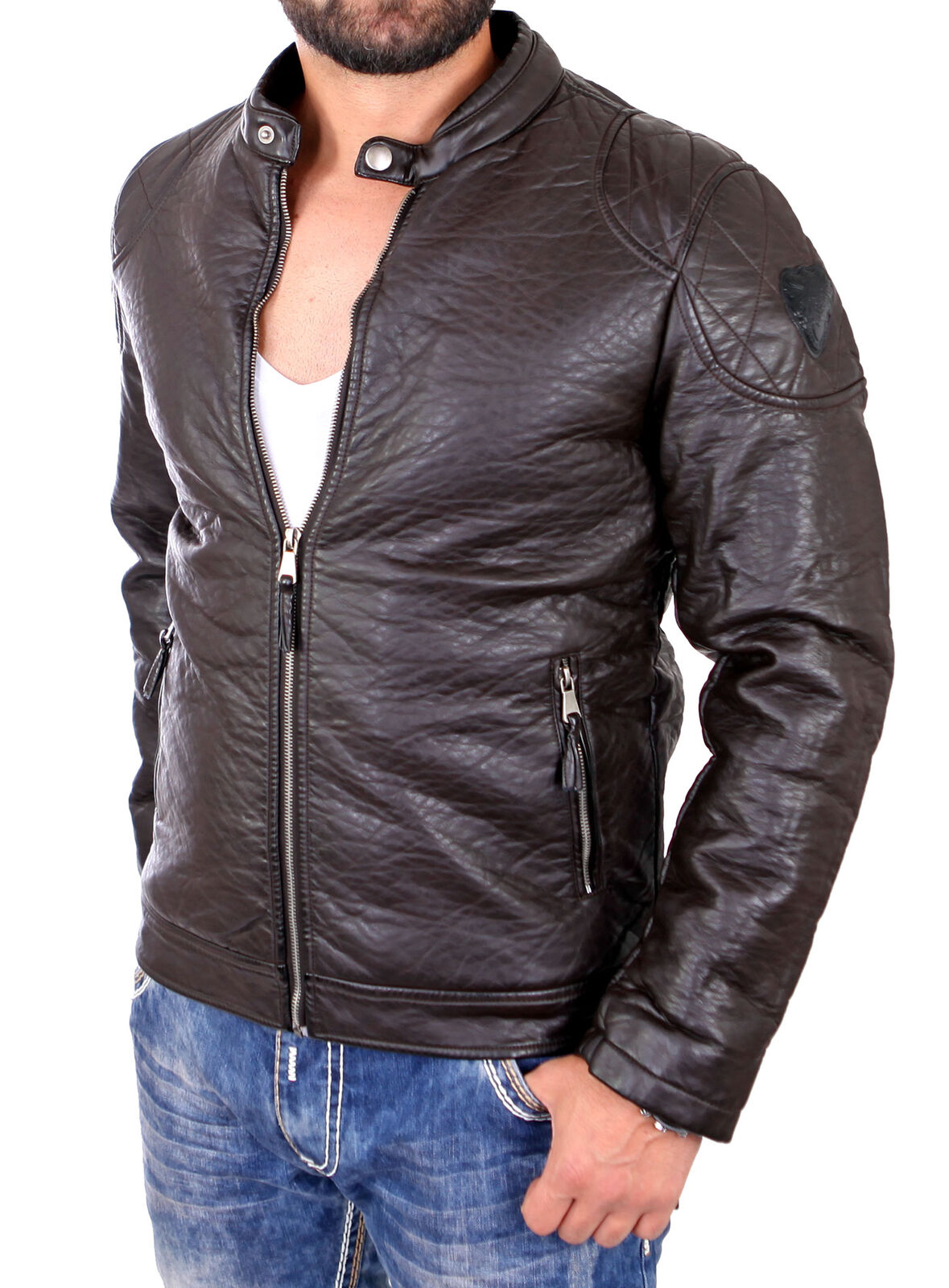 Reslad Giacca di Pelle look Uomo sgualciti look Pelle ecopelle Biker Giacca rs-1505 NUOVO 171929