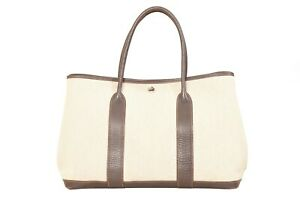 HERMES-Garden-Party-PM-Brown-Leather-Beige-Canvas-Tote-Hand-Bag-YG00529
