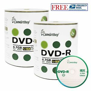 200-Pack SmartBuy Blank DVD-R DVDR 16X 4.7GB Logo Top Surface Recordable Disc