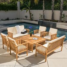 casual outdoor patio furniture 8pc wood stained finish sofa seating set