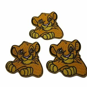 """Disney/'s The Lion King Simba 3/"""" Tall Embroidered Patch Set of 3 Patches"""