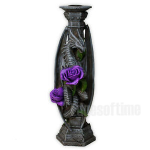 DRAGON-BEAUTY-ROSE-CANDLE-STICK-HOLDER-ANNE-STOKES-FANTASY-GOTHIC-FLOWER-25CM
