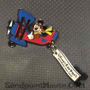 Rare-Disney-LE-Mickey-Plane-EarPort-Opening-Day-Dangle-Pin-UI-17145