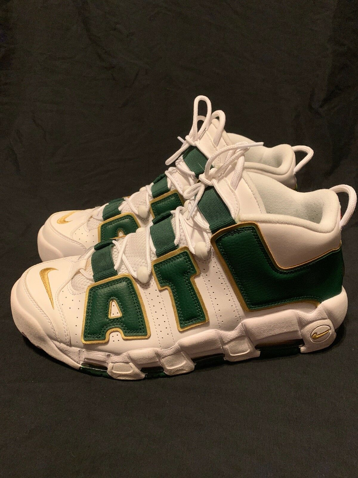 Men's Nike Air More Uptempo ATL QS Atlanta White White White Green gold AJ3139-100 Size 12 aa71ab