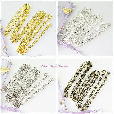 4Strands Necklaces Chain With Lobster Clasps Gold Dull Silver Bronze Plated 50cm
