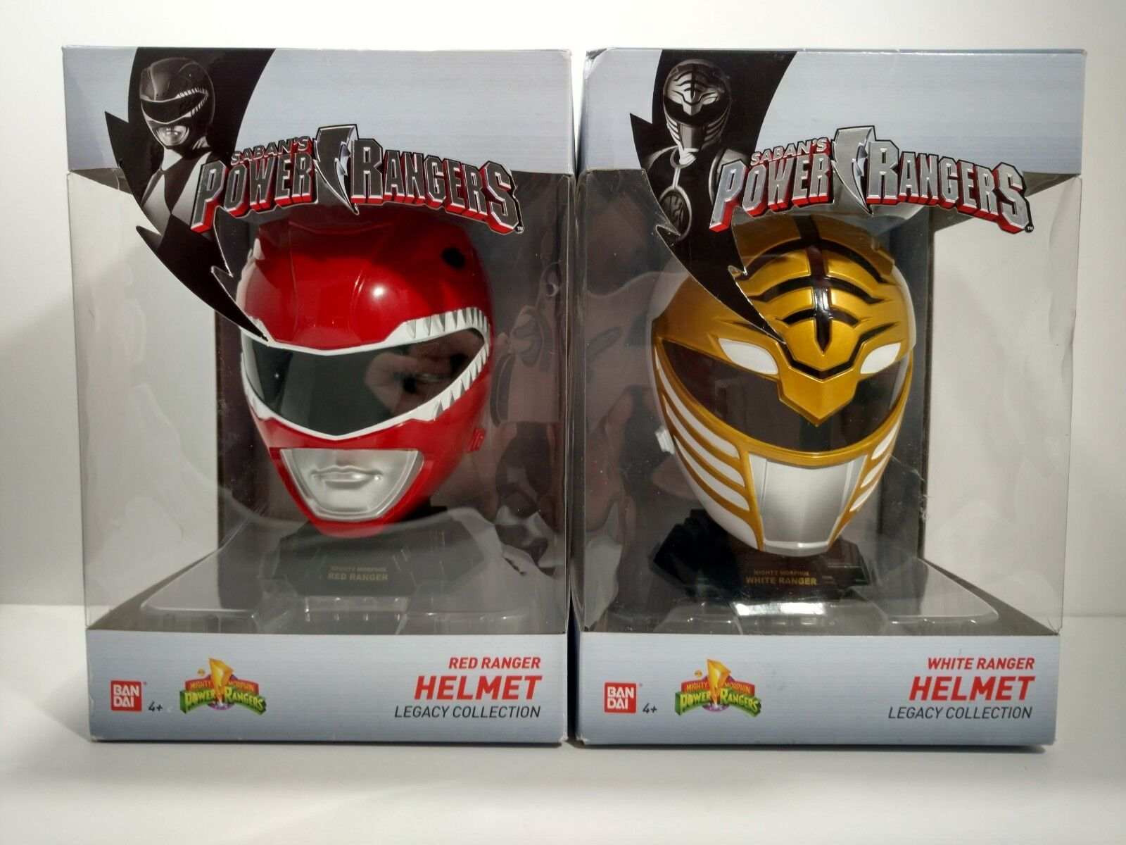 NIB Power Rangers Legacy Collection Red And White Ranger Helmets, 2 Helmets