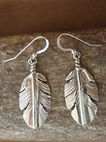 Native American Indian Jewelry Stamped Sterling Silver Feather Earrings Begay