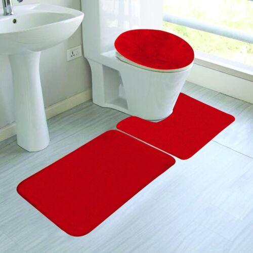 RED COLORS BANDED BATHROOM SET BATH MAT COUNTOUR RUG LID COVER PLAIN 3PC #6