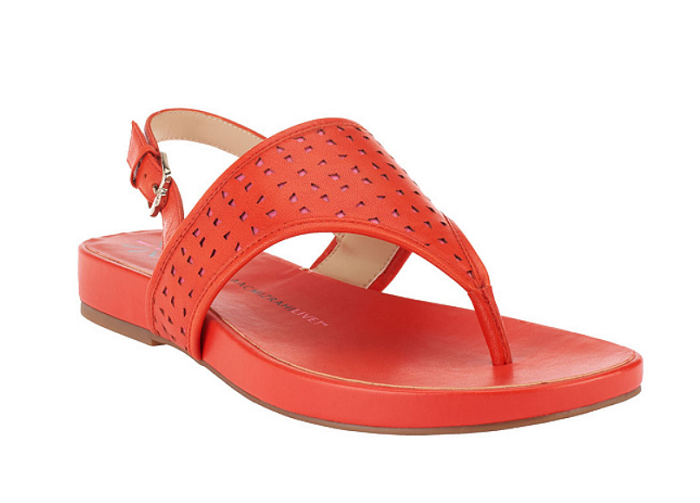 Isaac Mizrahi Live  Leather Cutout Sandals orange PINK 7M