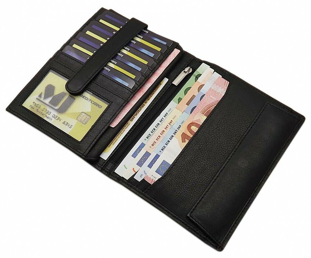 Große Kalbsleder Brieftasche Geldbörse Geldbeutel Portemonnaie Schwarz