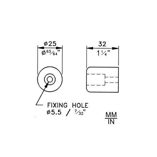 "Penn-Elcom F1696 Rubber Cabinet Foot 1/"" Dia x 1.25/"" H"