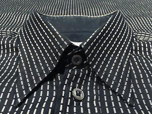 Brioni-Black-w-Gray-Broken-Stripes-Cotton-Button-Down-Single-Pocket-Shirt-Sz-M