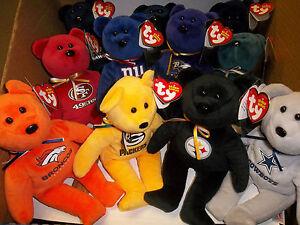 """U PICK YOUR TEAM 1 NFL Football TY Beanie baby TEDDY BEAR logo & COLOR NWT 8"""" Sz"""