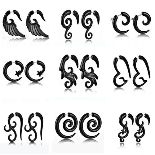 Lots Gothique Femmes Hommes en acrylique Noir Escargot Clip Boucles D/'oreilles Piercing Bijoux