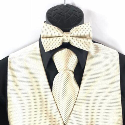Details about  /Bruno Piattelli Roma Men/'s 4 Piece Beige Black Vest Bow Tie Pocket Square Tie