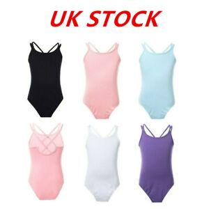 UK-Kid-Girls-Ballet-Leotard-Dance-Dress-Sleeveless-Gymnastics-Bodysuit-Dancewear