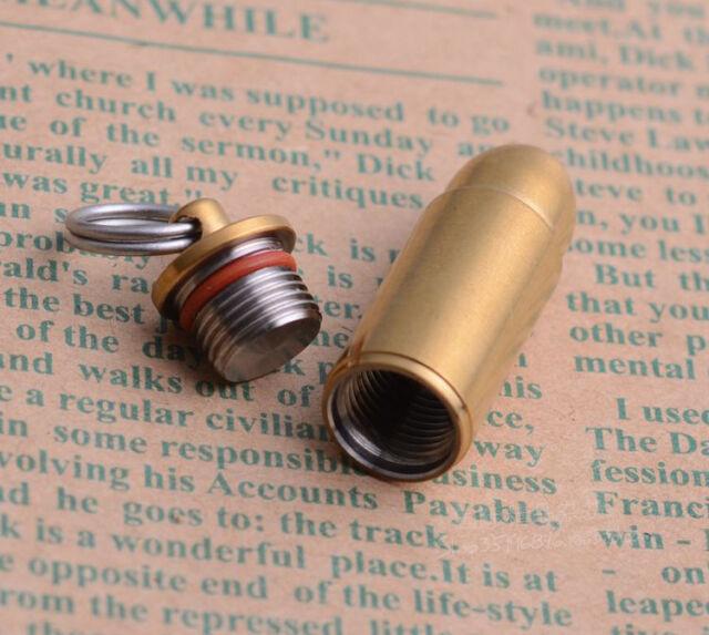 Necklace Pendant Emergency Pill Holder Bullet Shape Titanium Mini Pill Fob