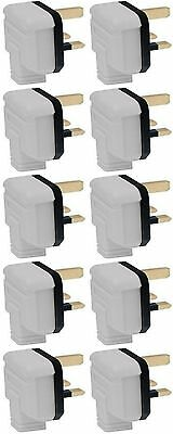 BOX OF 10 BG Permaplug Heavy Duty Hard Rubber Plug Top WHITE 13A Fused 3 Pin