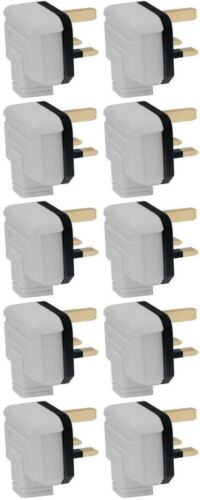 Pack of 10 13 Amp Plug Tops Heavy Duty Permaplug Hard Rubber 13A 3 Pin White