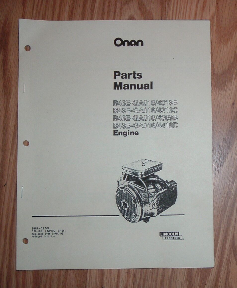 Onan B43e Lincoln Welder Engine Illustrated Parts List Manual 965 Diagrams Norton Secured Powered By Verisign