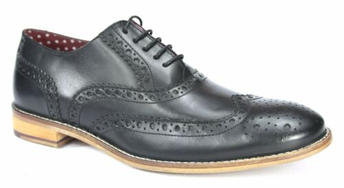 London Brogues Gatsby Mens Leather Wingtip Formal Shoes Black