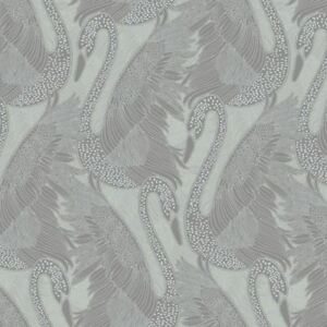 Swan Wallpaper Silver Blown Vinyl Embossed Metallic Sheen Glitter