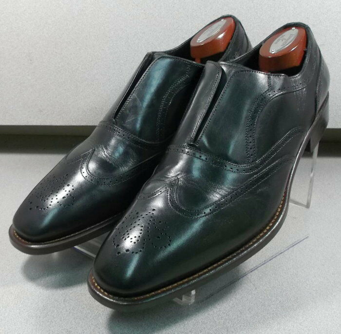 243087 PFi60 Men's Shoes Size 9 M Black Leather Made in Italy Johnston Murphy