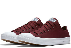 54e575b2e30 Converse Chuck Taylor II All Star 2 Ox Low Bordeaux Canvas Trainers ...