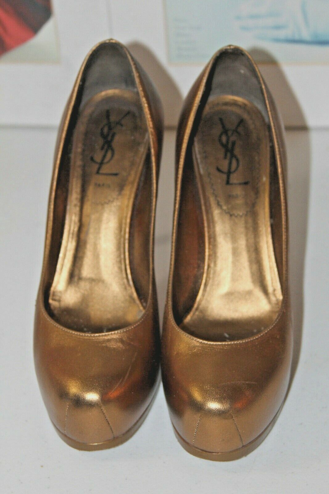 YSL TRIBTOO gold BRONZE LEATHER PLATFORM PUMP   SZ 36 6