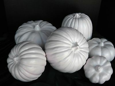 NEW 2018Made in USA Ceramic Pumpkin Decorator Ensemble 6pc White Satin Glaze
