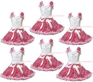 My 1ST 2ND 3RD Birthday White Top Blue Silver Satin Trim Skirt Girls Set NB-8Y