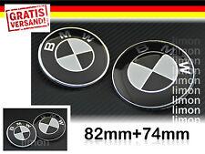BMW Emblem SET 82mm + 74mm Motorhaube und Heckklappe Logo Schwarz-Weiss S207
