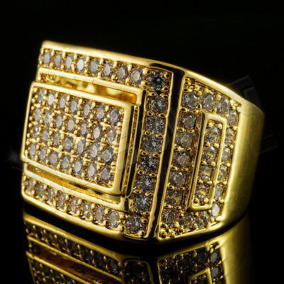 18K Gold Iced Out Hip Hop Championship Bling MICROPAVE Cubic Zirconia Pinky Ring