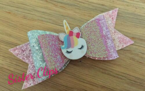 """Girls thank you for coming to my party favour 4/"""" unicorn glitter hair bow clip"""