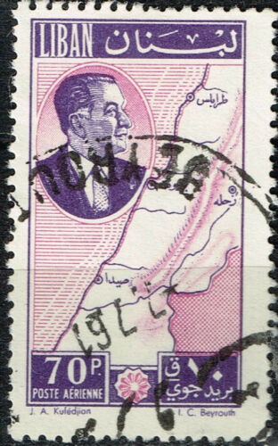 Lebanon Country Ruler Map stamp 1961