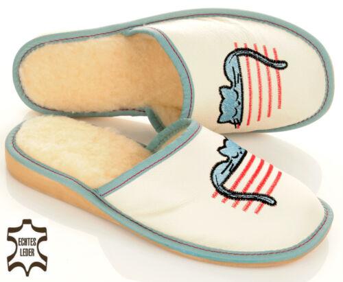 Damen Leder Winter HausSchuhe Pantoffeln mit schlafender Katze Gr 36 bis 41 NEU