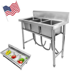 Heavy-Duty-Three-3-Compartment-Stainless-Steel-Commercial-Utility-Sink-Kitchen