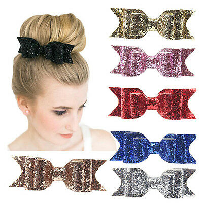Glitter Women Girl Hairpin Bowknot Barrette Crystal Hair Clip Bow Accessory Gift