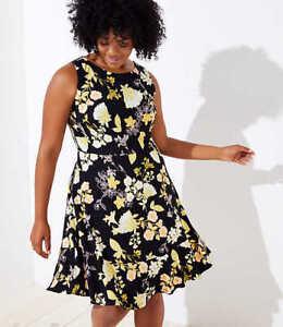 NWT-69-Ann-Taylor-Loft-Plus-Golden-Floral-Flounce-Hem-Dress-Black-Yellow-Sz-24