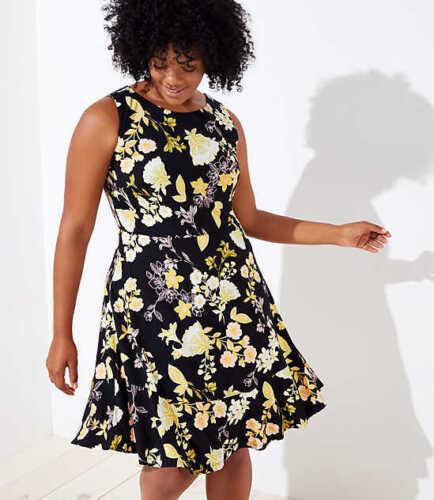 NWT $69 Ann Taylor Loft Plus Golden Floral Flounce Hem Dress Black Yellow Sz 24