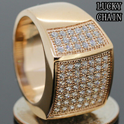 MEN`S STAINLESS STEEL ICED OUT LAB DIAMOND ROSE GOLD RING/11g/G26