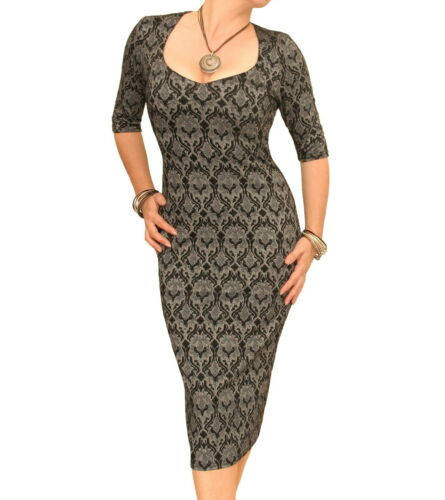 Sweetheart Neckline Black and Grey Jacquard Stretch Shift Dress